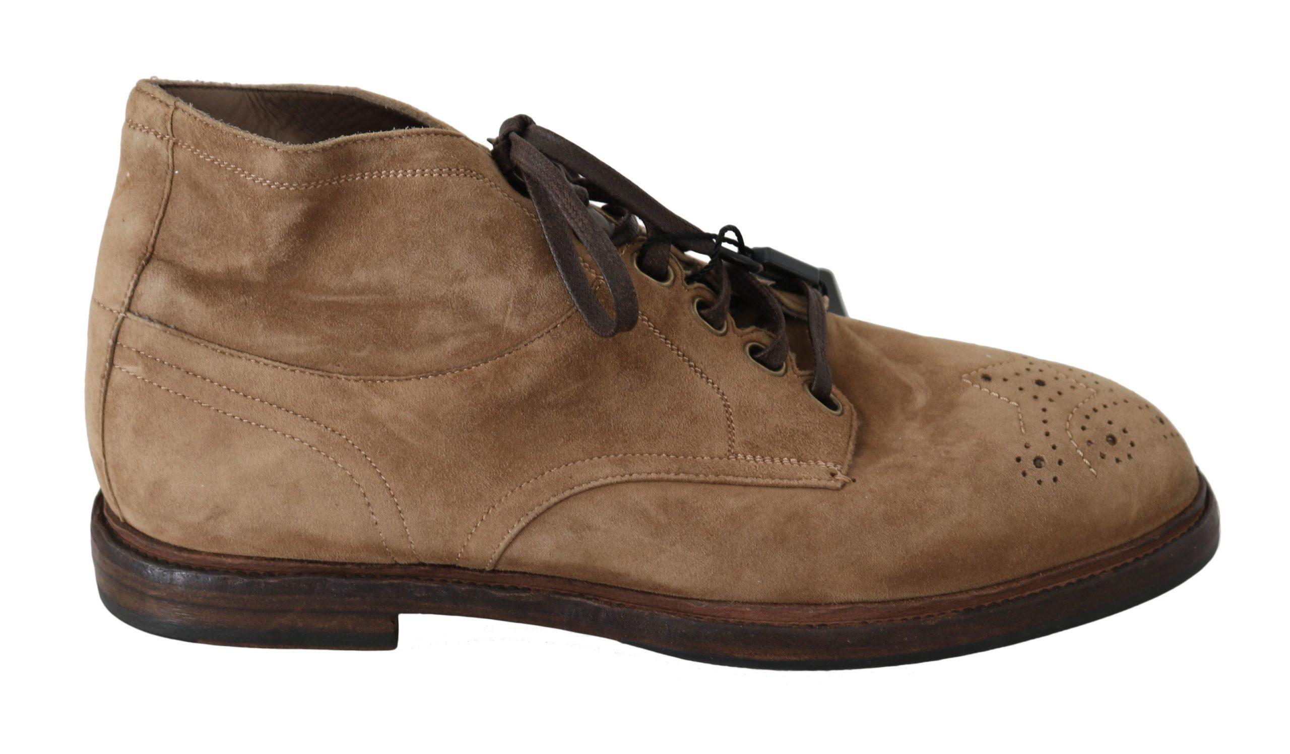 Dolce & Gabbana Men's Brogue Derby Boots Beige MV2589-40 - EU40/US7