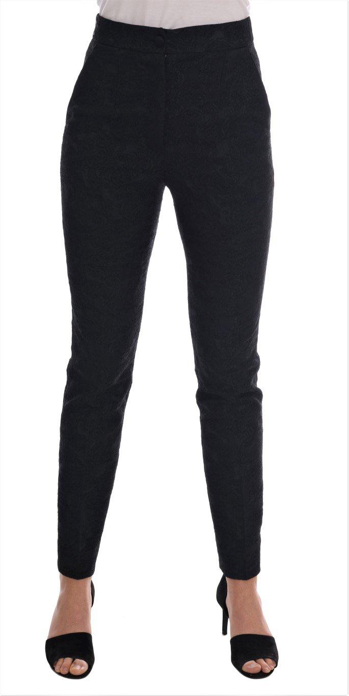 Black Floral Brocade Slim Fit Pants - IT38|XS