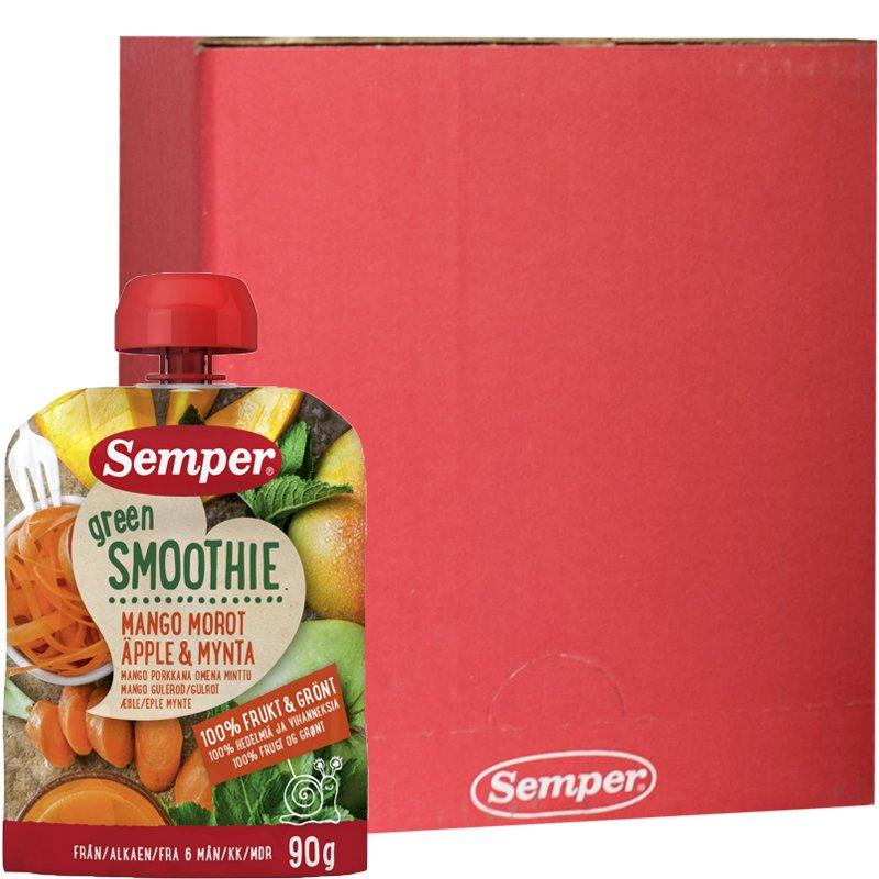 "Laatikollinen Smoothieita ""Mango, Porkkana, Omena & Minttu"" 12 x 90g - 62% alennus"