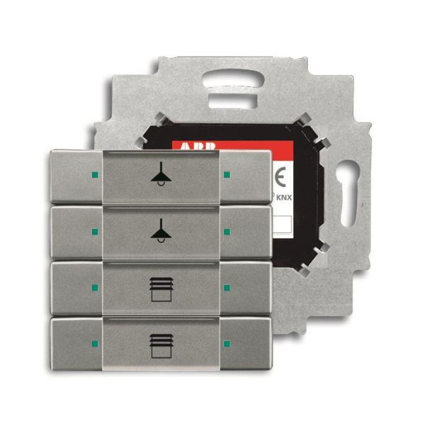 ABB Impressivo 6117-0-0227 Painike 4-napainen painike, väyläliitäntäyksiköllä, KNX Ruostumaton teräs