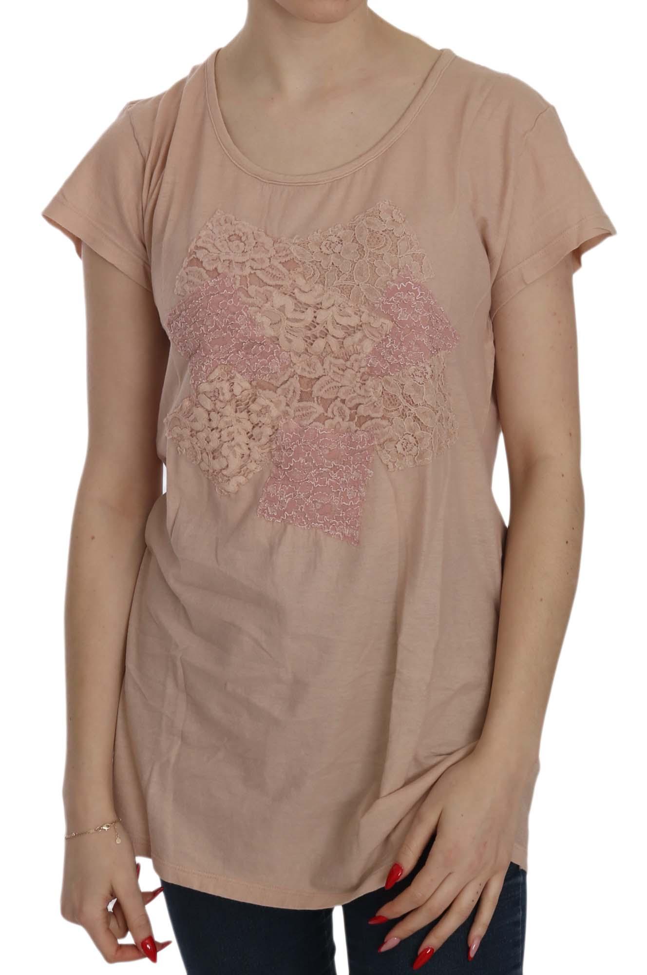 PINK MEMORIES Women's Cream Lace SS Cotton Top Pink TSH3906 - IT42|M
