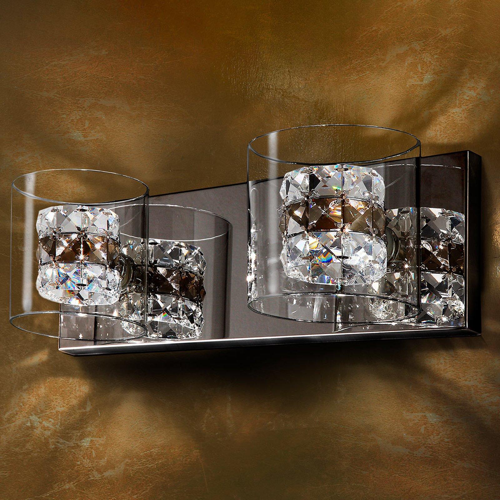 LED-vegglampe Flash med krystallringer
