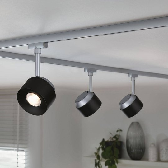 Paulmann URail LED-Spot Pane, mattakromi, musta