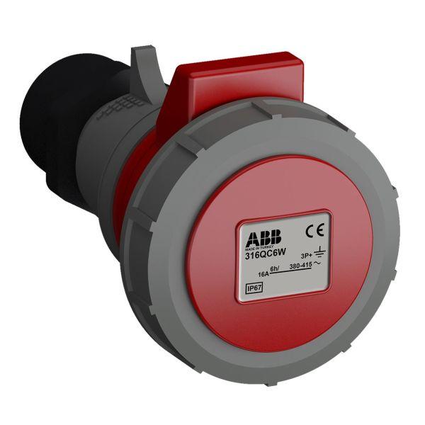 ABB 2CMA102316R1000 Jatkopistorasia pikaliitettävä, tärinänkestävä Punainen, 16 A, 4-napainen, IP67