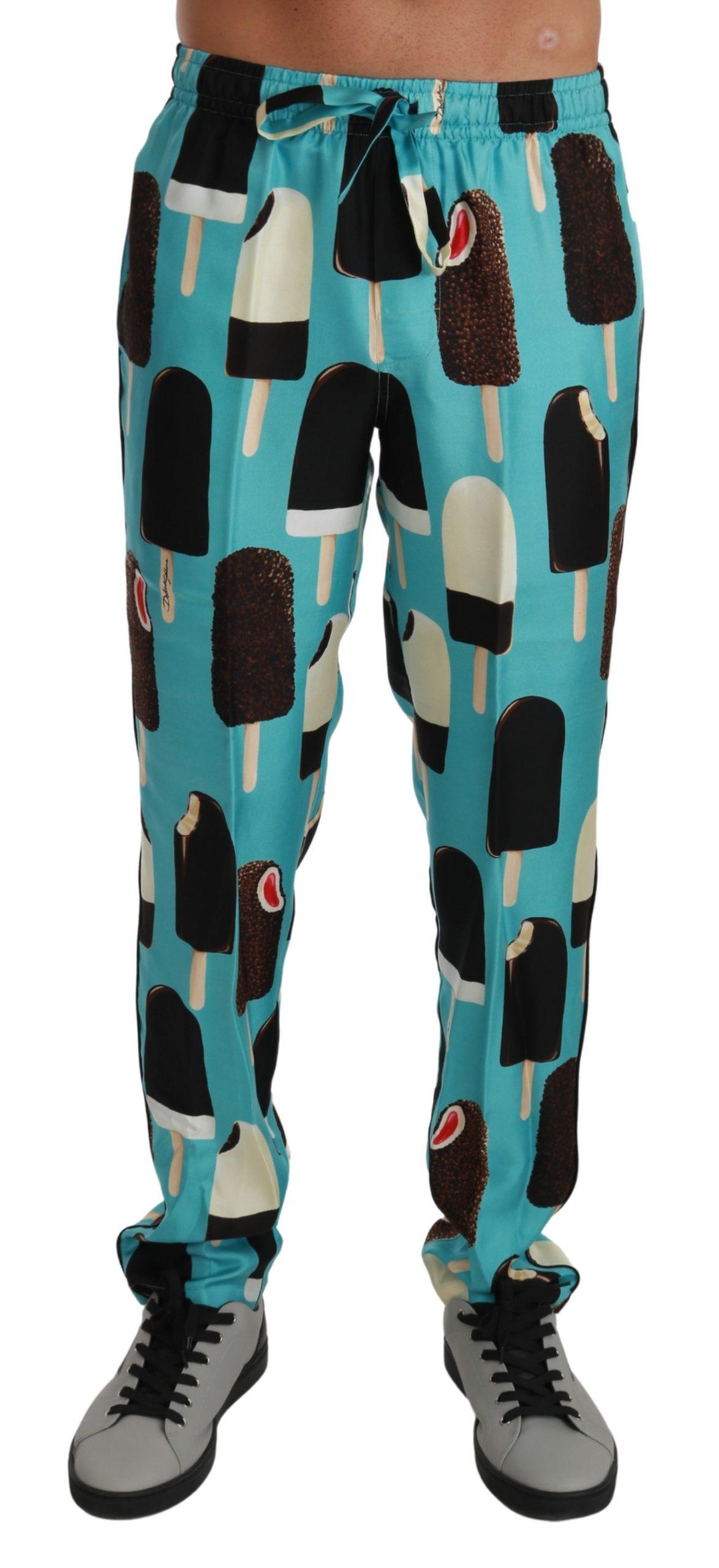Dolce & Gabbana Men's Silk Ice Cream Print Lounge Trouser Blue PAN71035 - IT44   XS