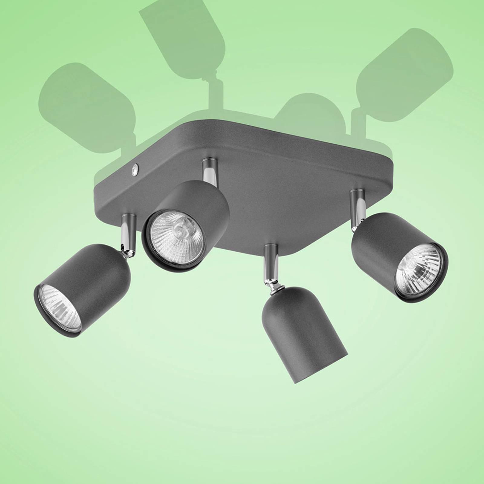 Kattokohdevalo Top, 4-lamppuinen, neliö, grafiitti