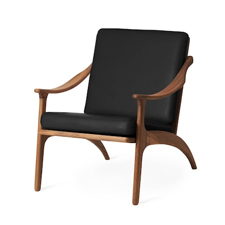 Lean Back Lounge Chair Svart Läder, Teak