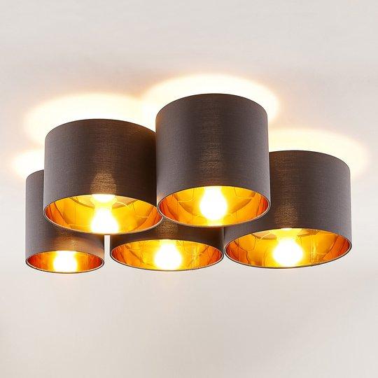 Lindby Laurenz -kattovalaisin 5-lamp. harmaa-kulta
