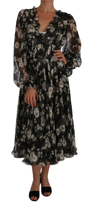 Dolce & Gabbana Women's Daisy Floral Silk Shift A-Line Dress Black DR1448 - IT46|XL
