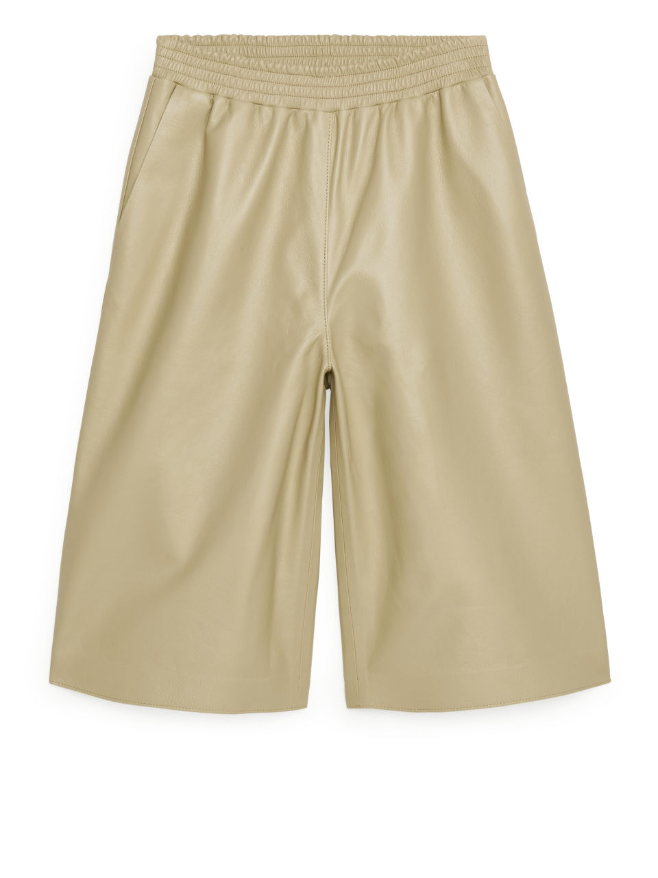 Loose Leather Shorts - Beige