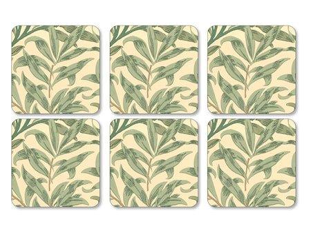 Morris Glassunderlag Willow Bough Grønn 6-pakning