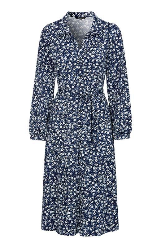 Happy Holly Jerseyklänning Linda Blå Mönstrad