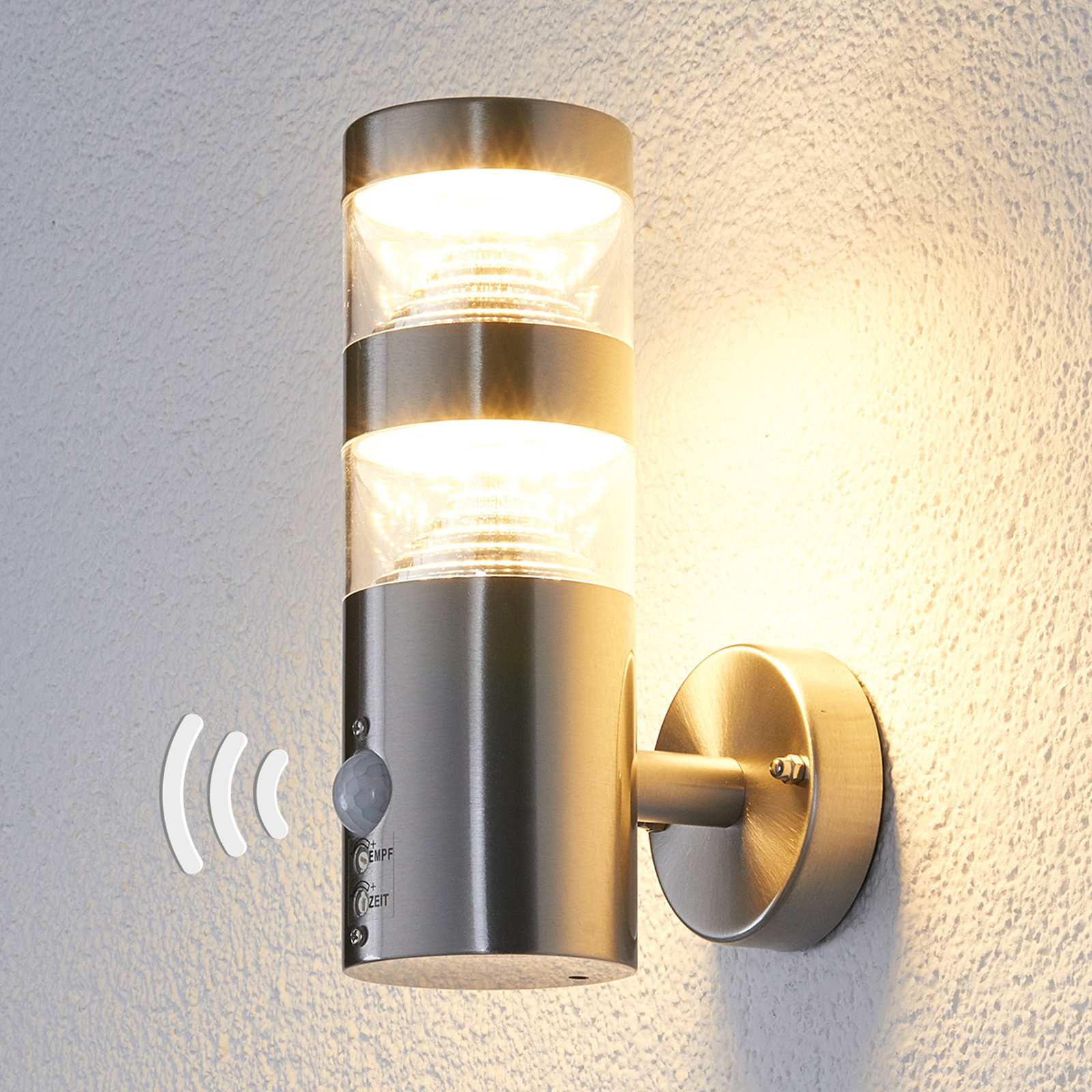 LED-ulkoseinävalaisin, suora, tunnistin