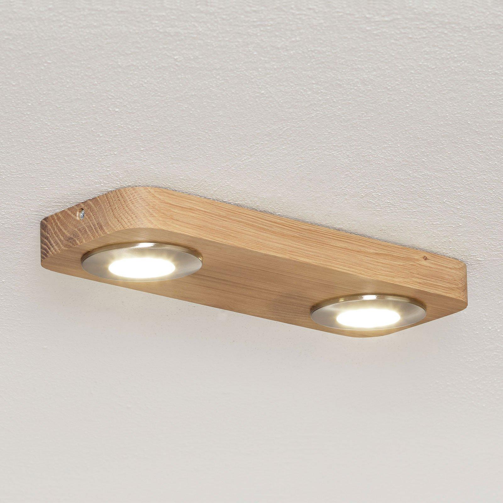 LED-taklampe Sunniva i naturlig tre