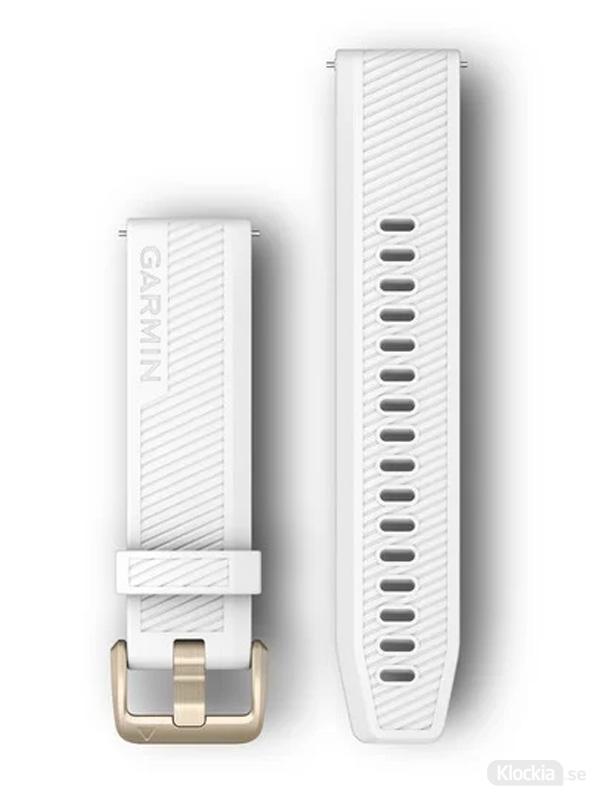 Garmin Armband 20mm med snäppspänne, Vitt silikonarmband med spännen i ljust guld