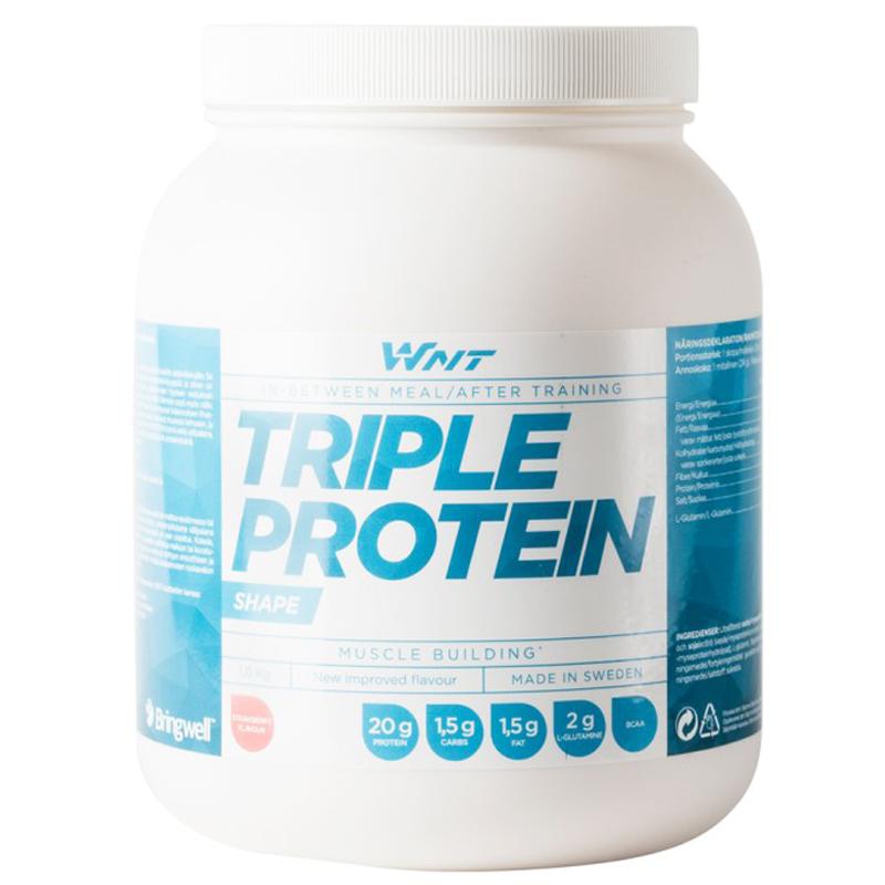 """Proteinpulver """"Triple Protein"""" Jordgubb 1kg - 33% rabatt"""