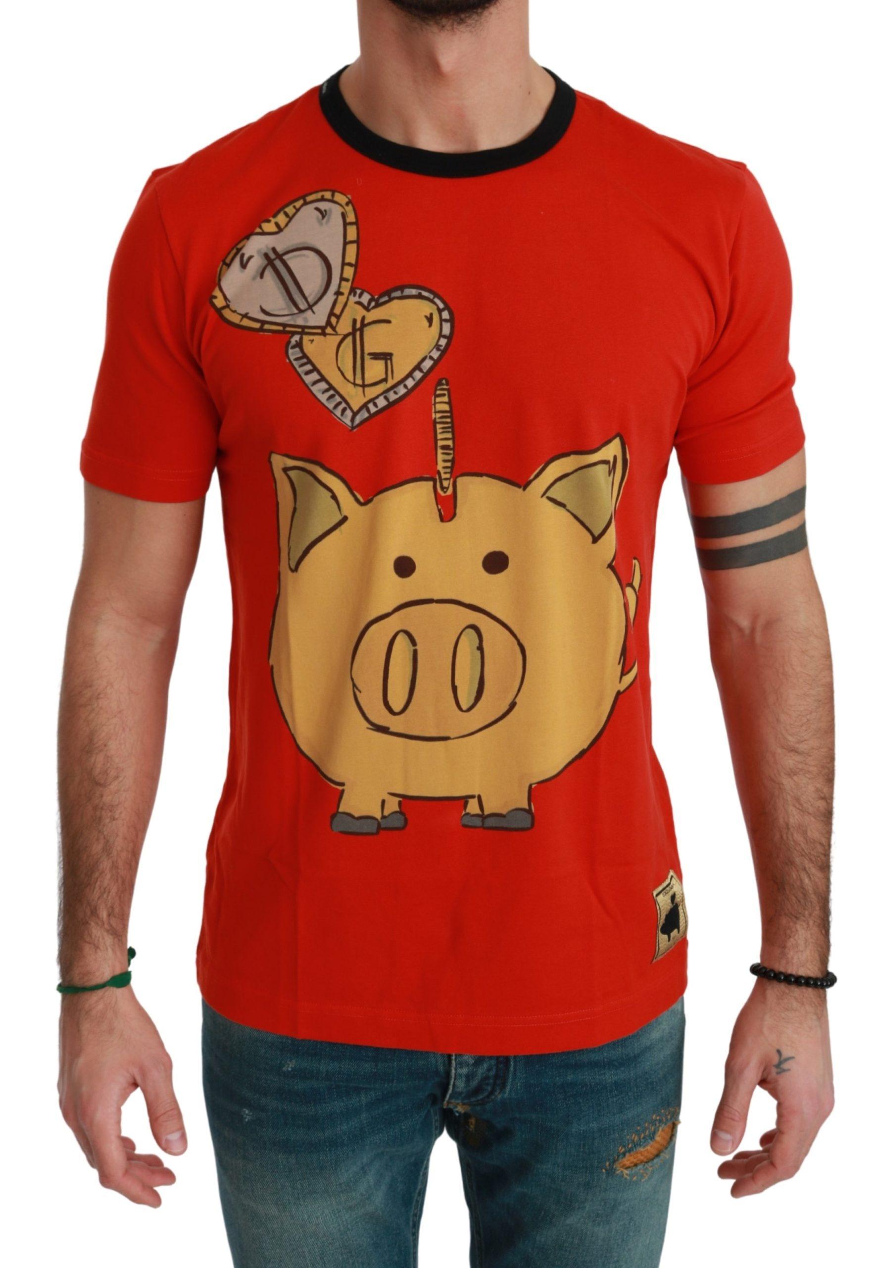 Dolce & Gabbana Men's Cotton Money Pig T-Shirt Red TSH4565 - IT56 | XXL