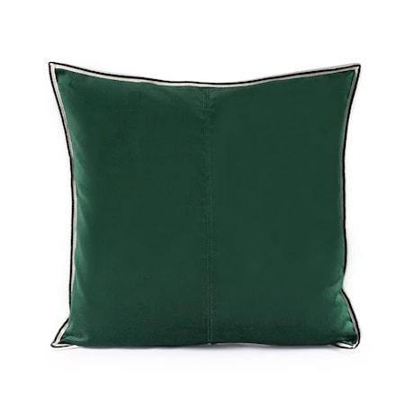 Kuddfodral Dark Green Striped Edge Velvet 50x50 cm