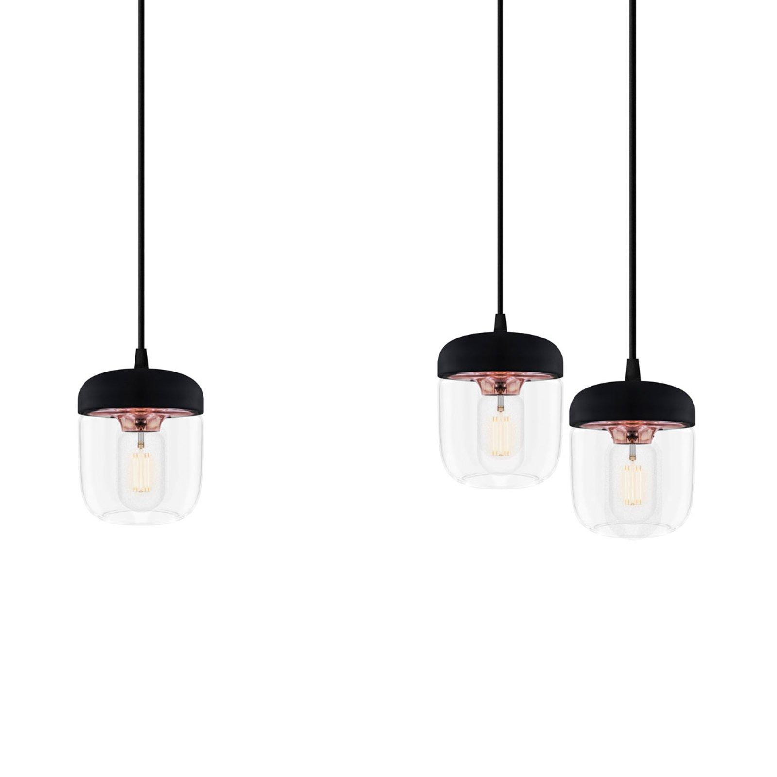 Pendellampe Acorn, svart og kobber - 3 lyskilder