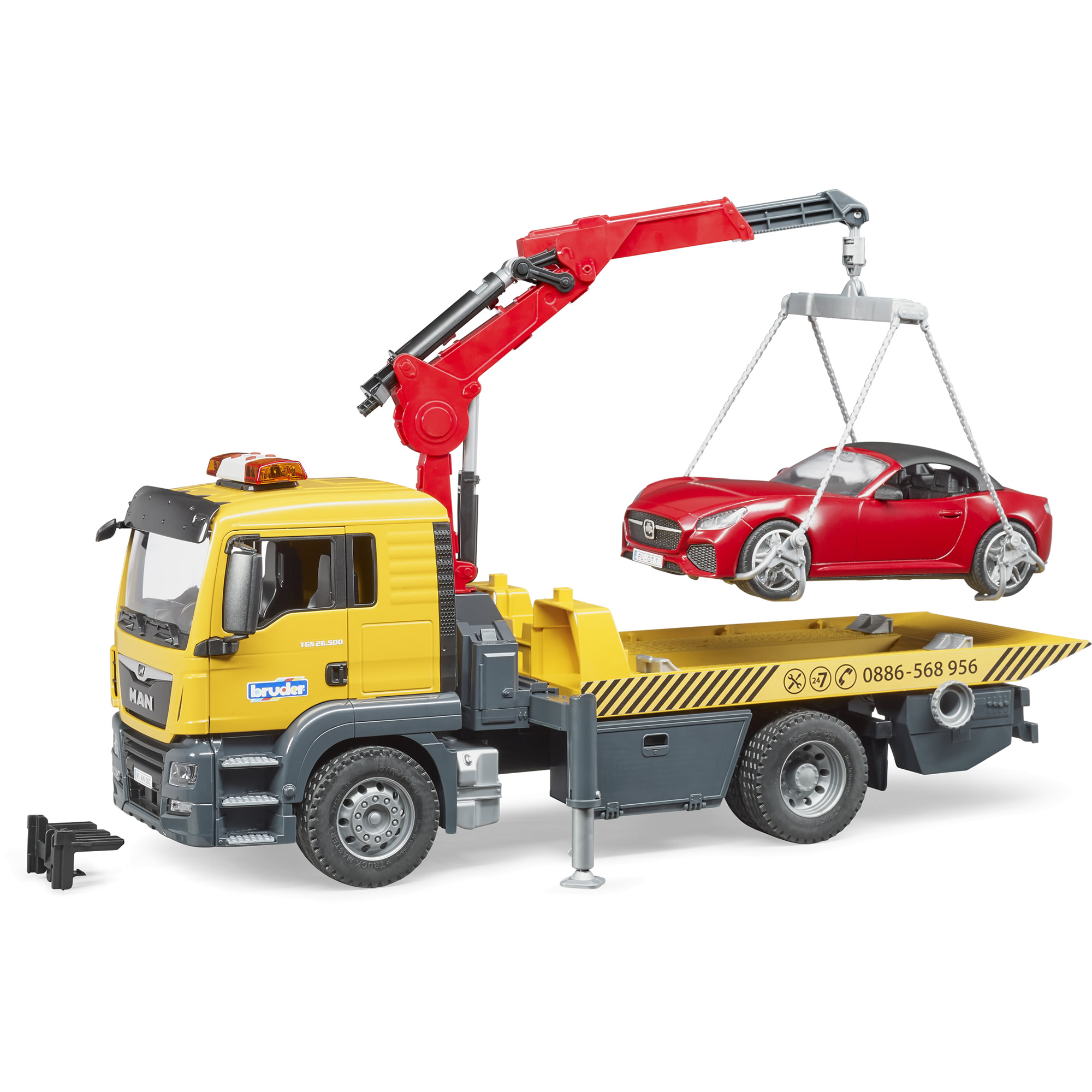 Bruder- MAN TGS Tow truck with BRUDER roadster and Light and sound module (BR3750)