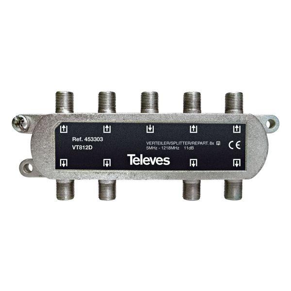 Televes VT812D Jakelija 5-1218 MHz, F-liitäntä 8-toiminen