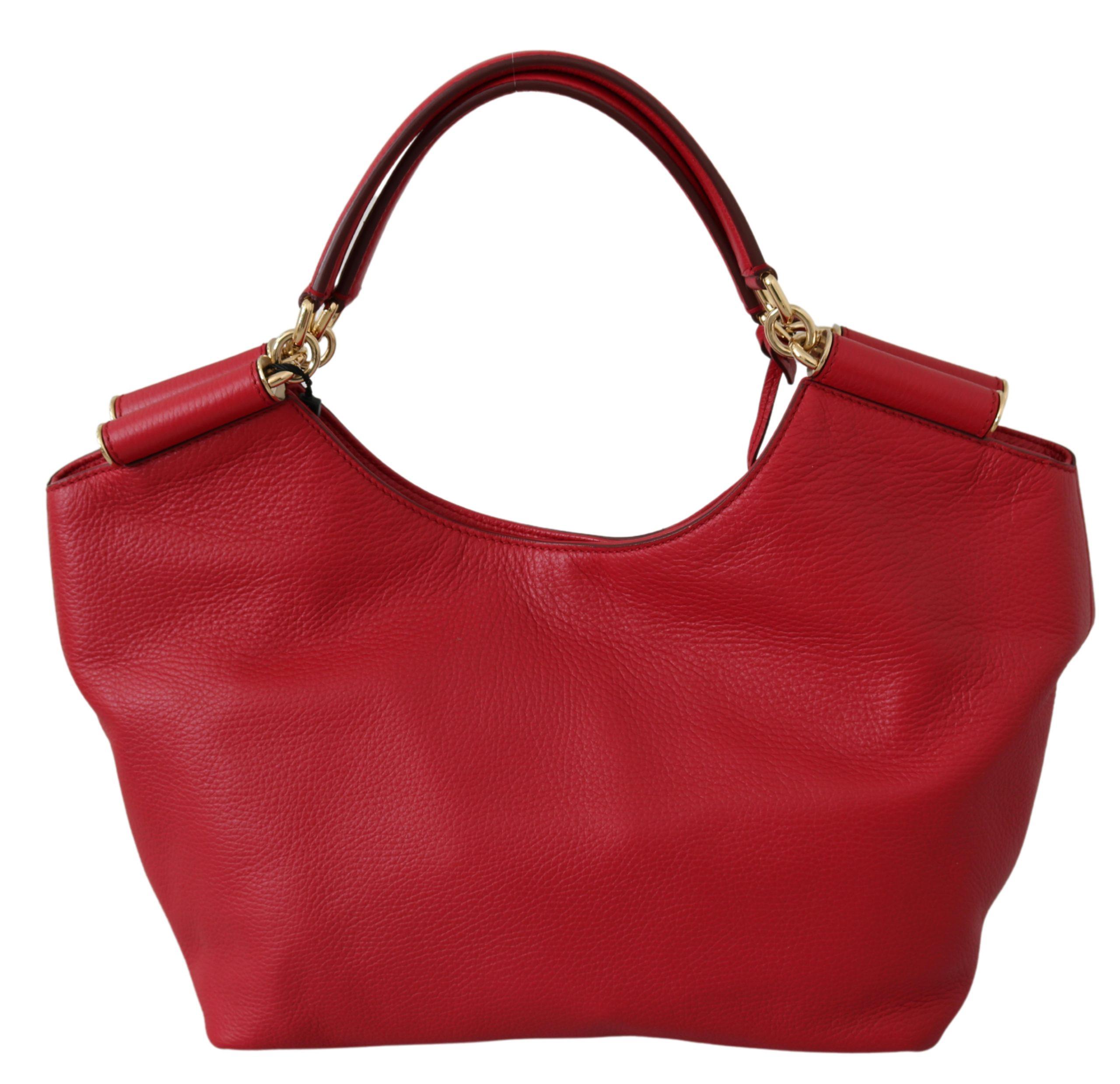 Dolce & Gabbana Women's Handbag SICILY Leather Tote Bag Red VAS9588