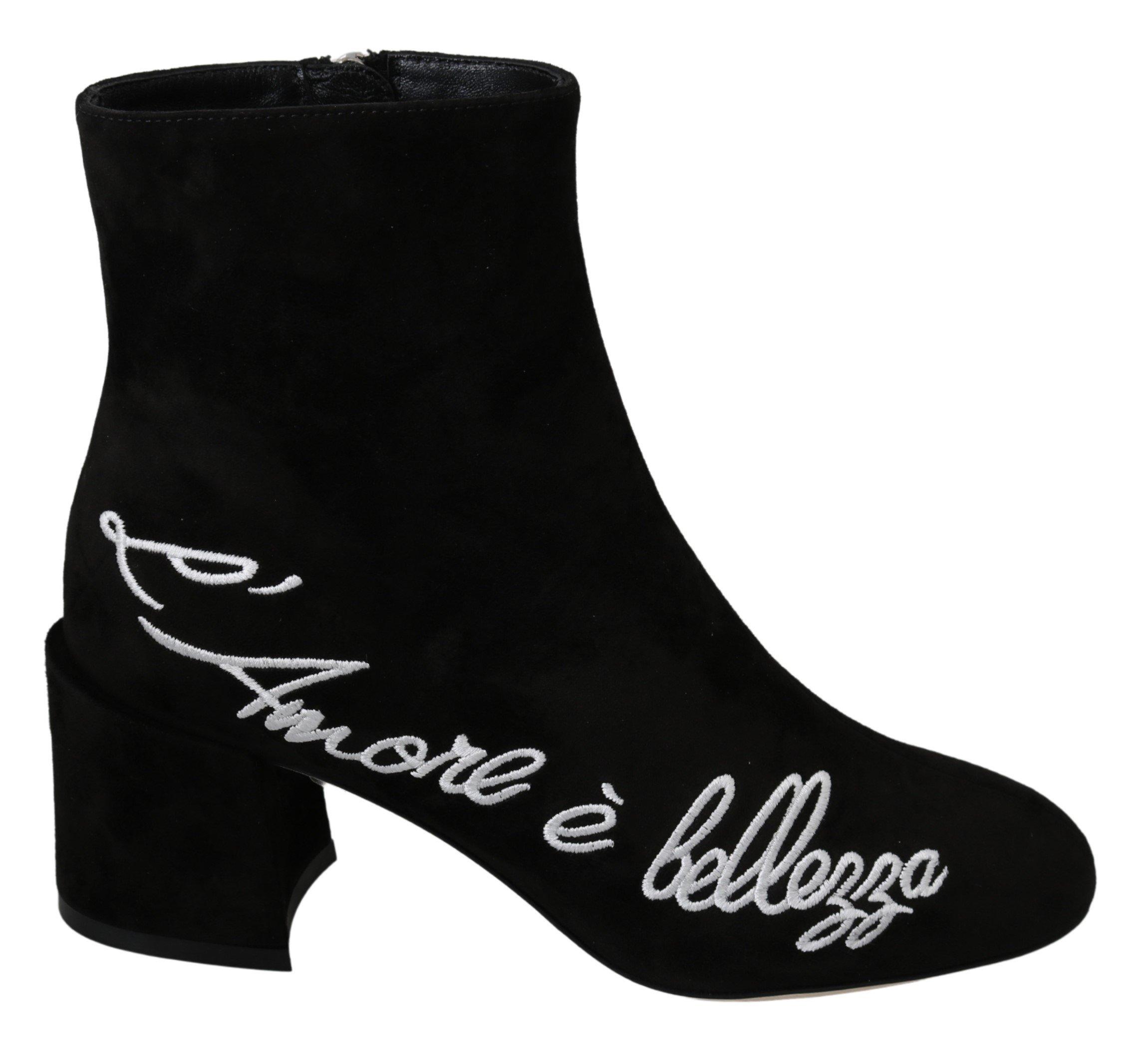 Dolce & Gabbana Women's Suede L'Amore E'Bellezza Boot Black LA7048 - EU35/US4.5