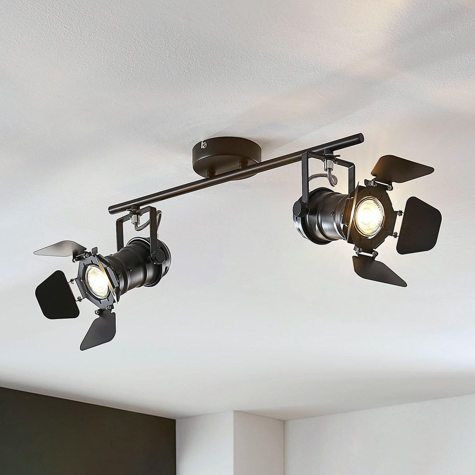 Taklampe Tilen, 2 lyskilder, lyskasterdesign