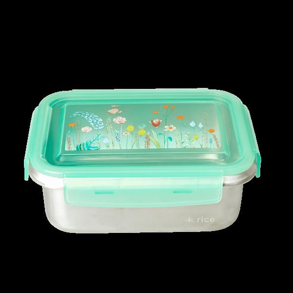 Rice - Stainless Steel Rectangular Lunchbox w. Summer Flowers Print