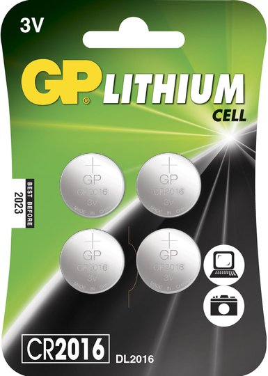 GP Batterier Knappcelle CR2016 4-pack