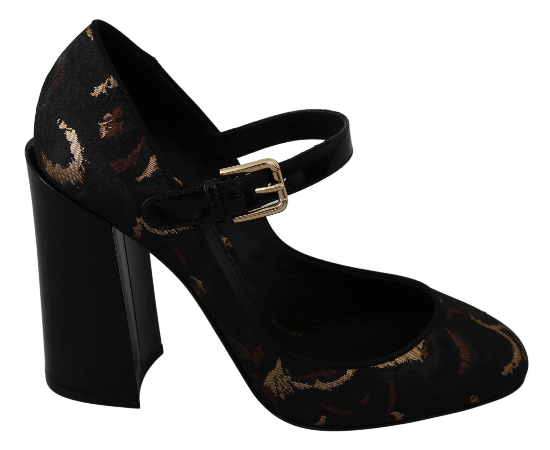 Dolce & Gabbana Women's Mary Janes Jacquard Leather Pumps Black LA7253 - EU39/US8.5