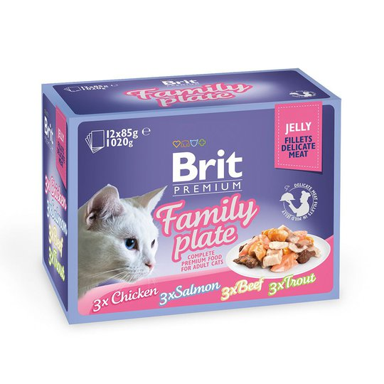 Brit Premium Pouches Fillets in Jelly Family Plate (12x85g)