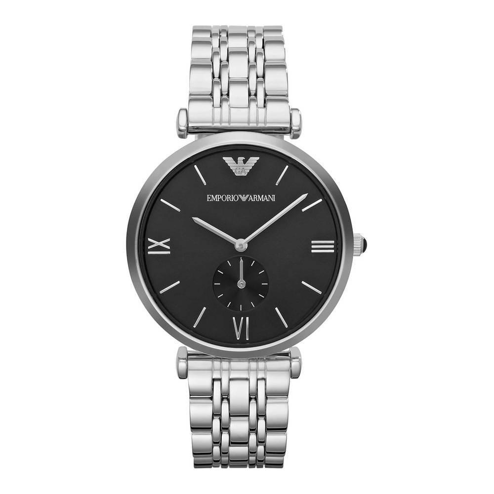 Emporio Armani Men's Gianni T-Bar Analog Dial Watch Silver AR1676