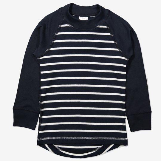 Stripet genser mørkblå