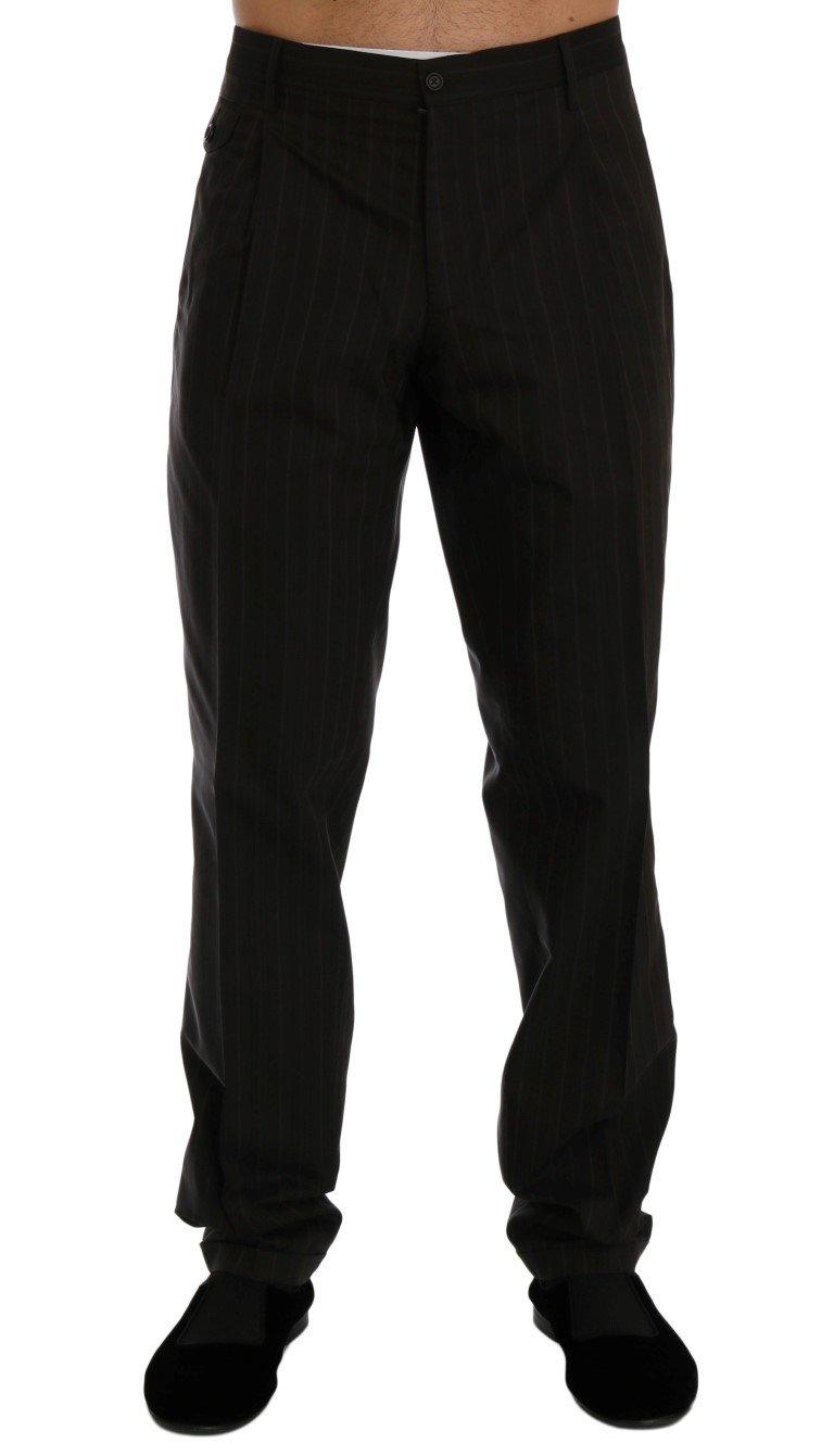 Dolce & Gabbana Men's Striped Cotton Dress Formal Trouser Brown PAN60340 - IT54 | XL