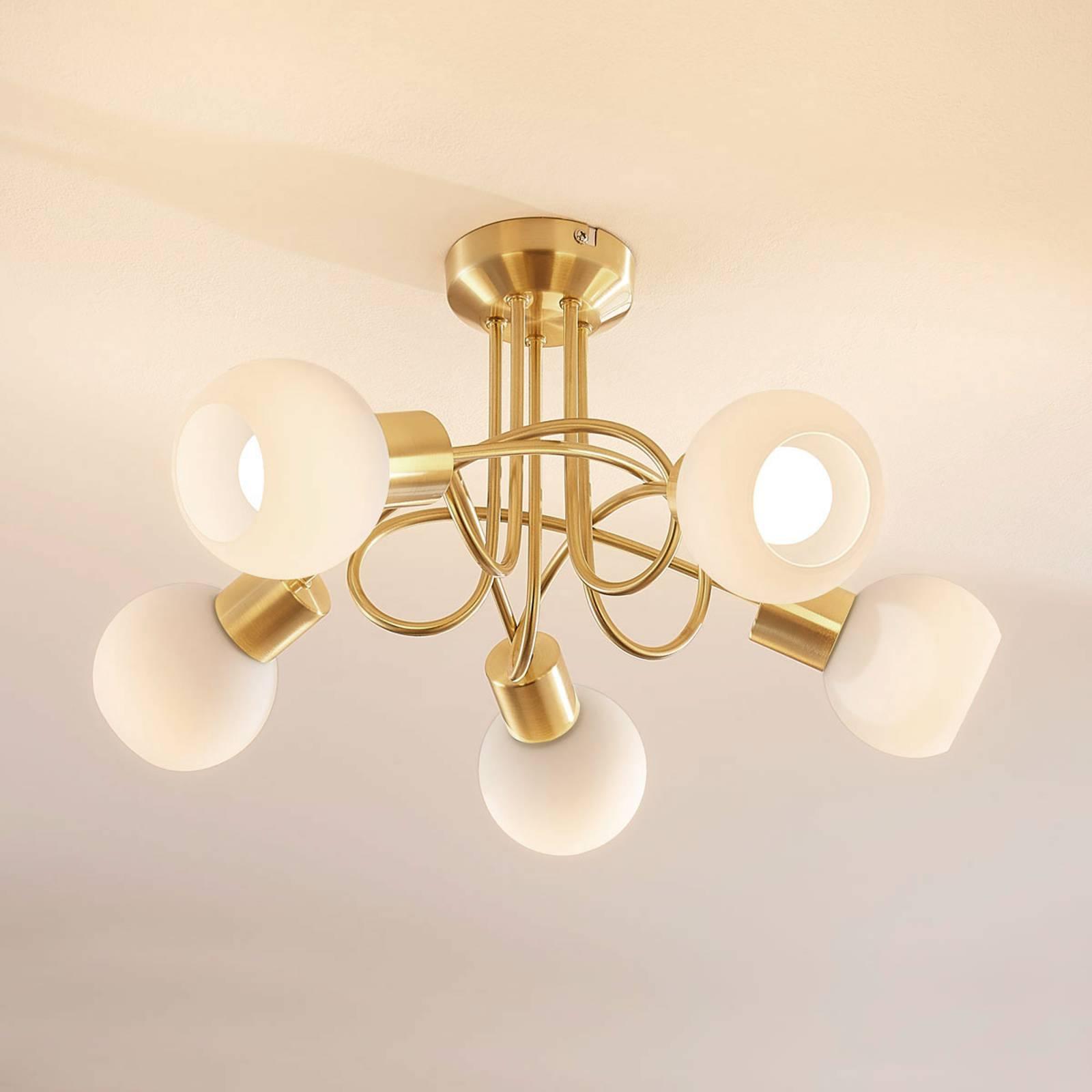 5-lamp. LED-kattovalaisin Elaina, messinginvärinen
