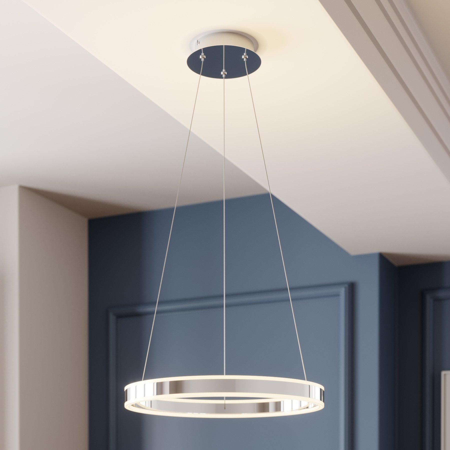 LED-pendellampe Lyani i krom, dimbar, 50 cm