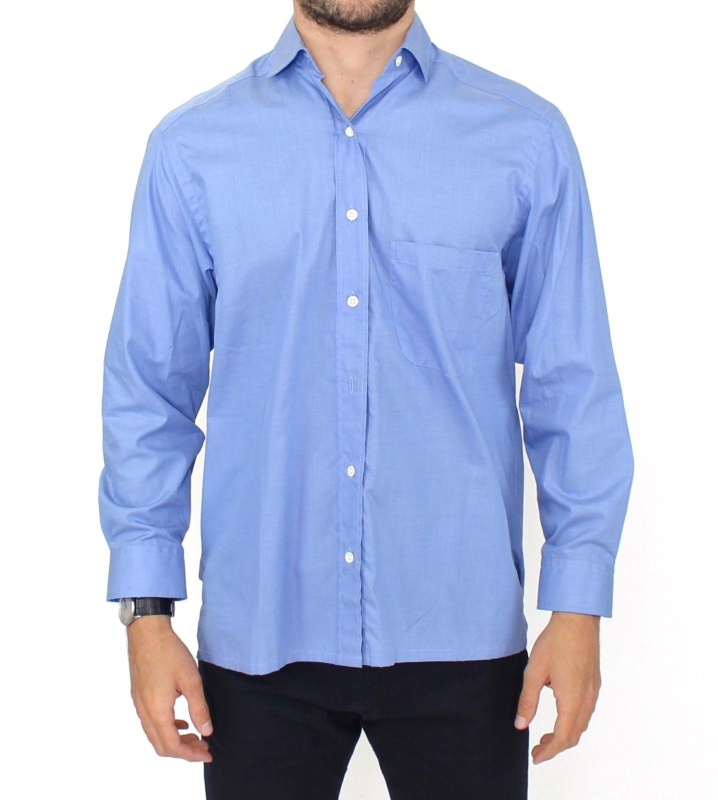 Ermanno Scervino Men's Cotton Classic Fit Shirt Blue SIG10124 - IT38 | S