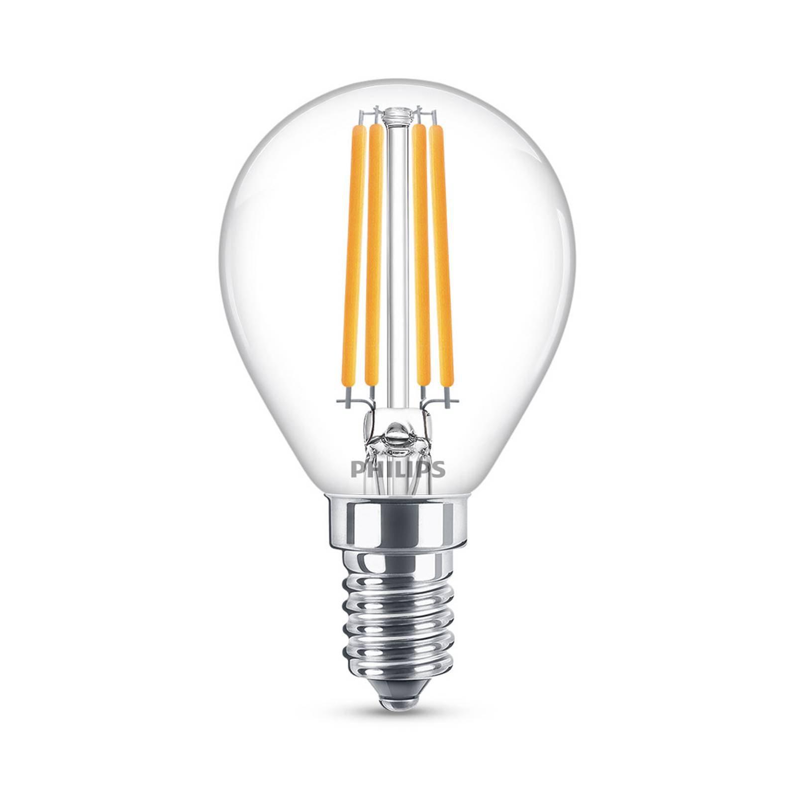 Philips Classic LED-pære E14 P45 6,5W 2 700 K klar