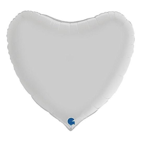 Folieballong Hjärta Satin Vit - 91 cm