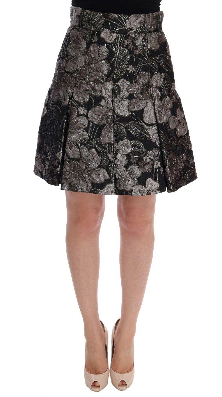 Dolce & Gabbana Women's Brocade Floral Skirt Black SKI1014 - IT42|M