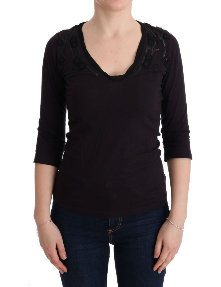 Costume National Women's V-neck Cotton T-Shirt Purple TUI10015 - S