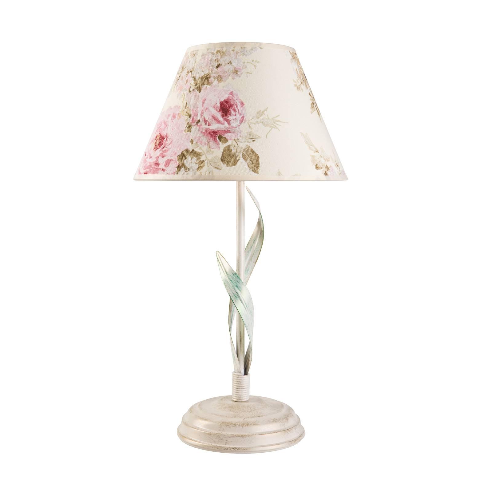 Pöytälamppu Sara kukkakuviollisella varjostimella