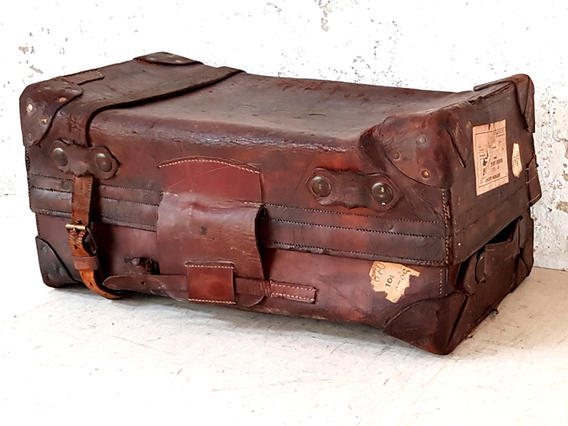 Small Leather Travel Trunk Brown