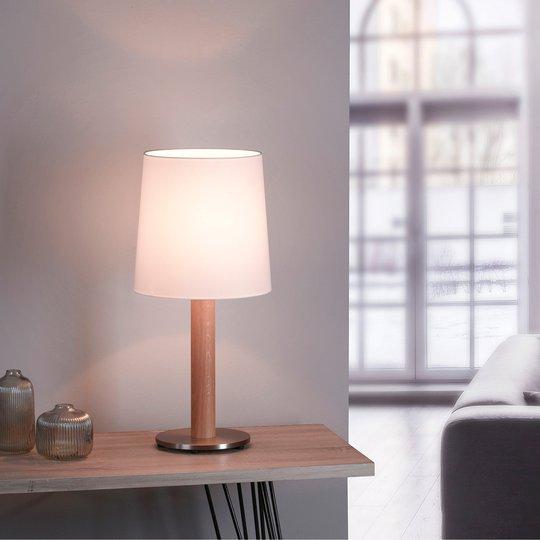 Lucande Elif bordlampe hvit, sylinder naturlig eik