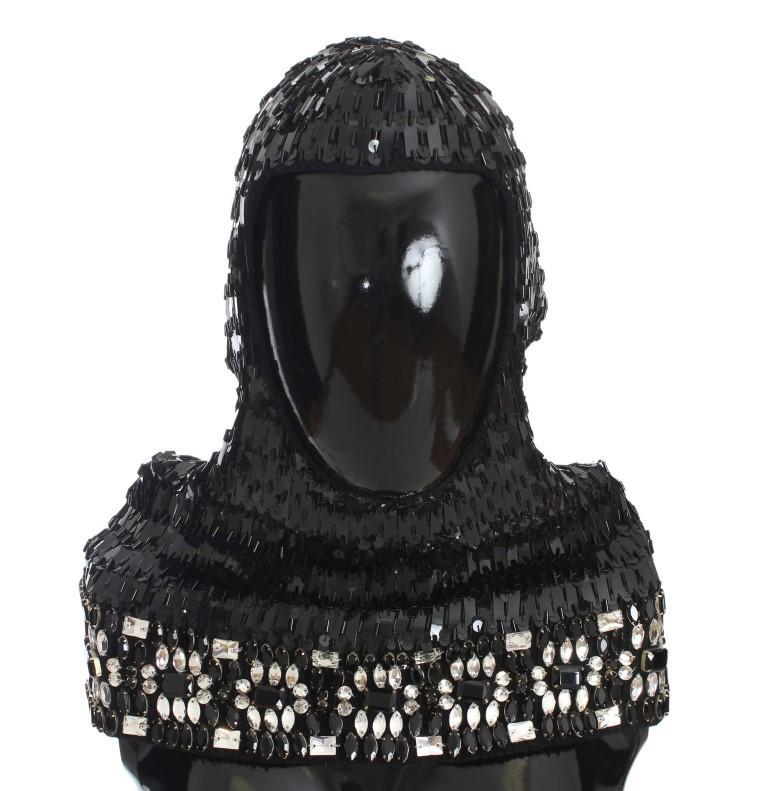 Dolce & Gabbana Men's Knitted Wool Crystal Hood Scarf Hat Black NOC10471