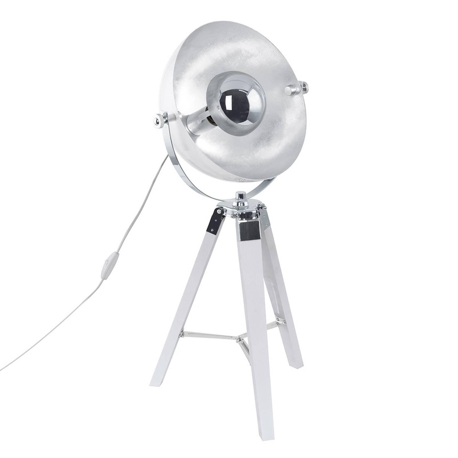 Covaleda - trebeint bordlampe i hvit-sølv