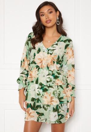 ONLY Alma Life L/S Layer Dress Lichen Big Flower M