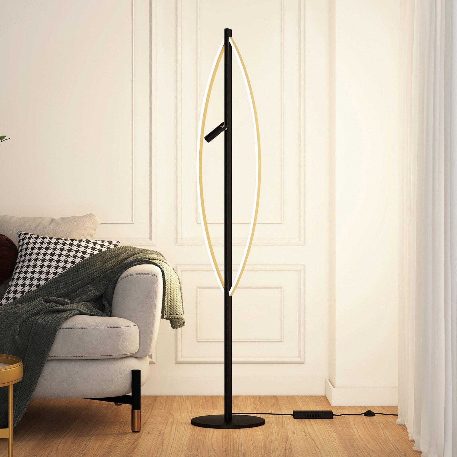 Lucande Matwei LED-gulvlampe, oval, messing
