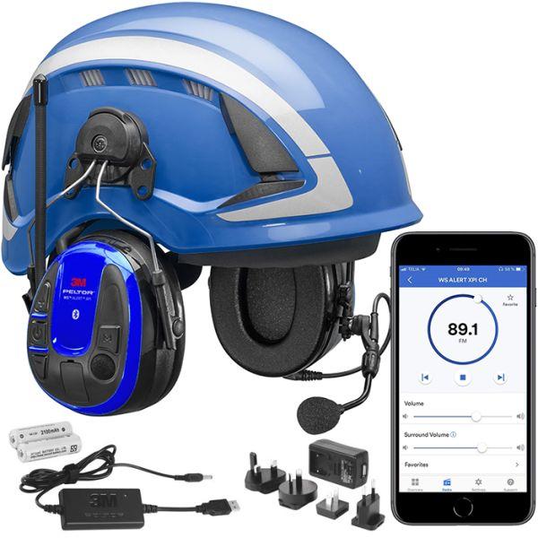 3M Peltor WS Alert XPI Hørselvernpakke med blå vernehjelm, app og ladepakke